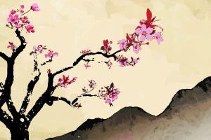 trees sakura (tree) flowers pink flowers artwork