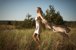 trees women long hair bare shoulders women outdoors model nature open mouth legs field heidi gwaii windy landscape grass blonde