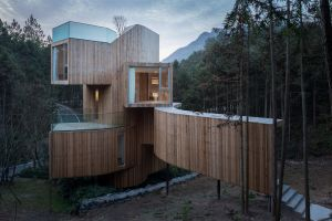 trees wood house forest architecture house modern