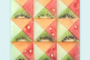 triangle geometry simple background minimalism watermelons fruit kiwi (fruit) square abstract artwork