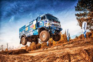 truck rally vehicle blue jumping racing sky kamaz dutch tilt dirt