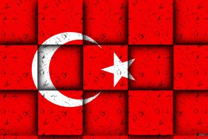 turkey red background half moon