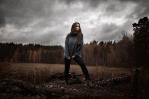 turtlenecks women brunette julia biryukova fall ilya baranov shoes women outdoors trees
