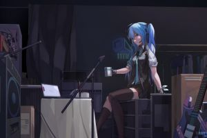 twintails looking at viewer cup wire table long hair guitar vocaloid black legwear bottles vest ponytail boxes radio shirt