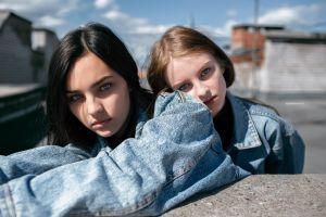 two women face rooftops portrait gray eyes women outdoors women depth of field lenar abdrakhmanov freckles denim shirt