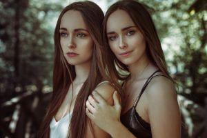 two women necklace portrait model gray eyes long hair women outdoors anne hoffmann looking at viewer twins women brunette