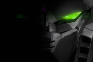 ultrawide anime green eyes glowing eyes gundam