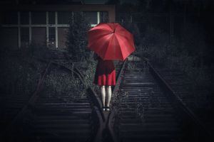 umbrella red railway women outdoors women