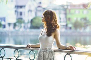 urban women outdoors brunette asian photography long hair model women