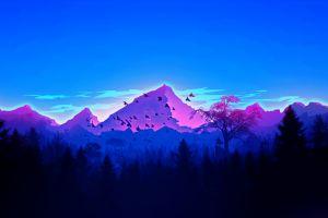 vaporwave artwork minimalism landscape mountains forest