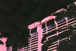 vaporwave flamingos hotel palm trees