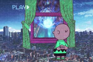 vaporwave video tape peanuts (comic) cityscape charlie brown