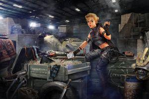 vehicle blonde women artwork fantasy girl