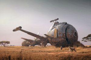 vehicle digital art monkey spaceship