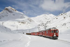 vehicle mountains railway snow