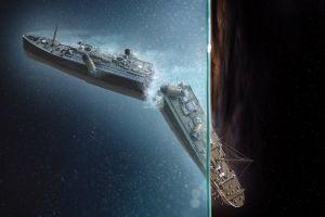 vehicle ship artwork titanic