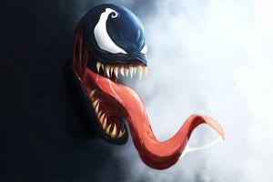 venom tongues tongue out spider-man artwork fangs marvel comics