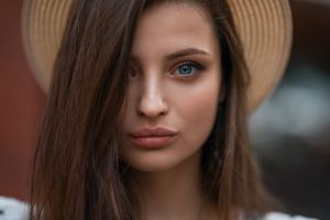 veronica (dmitry sn) women blue eyes dmitry sn dmitry shulgin veronika avdeeva hat portrait face