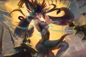 video game art blue eyes artwork long hair irelia league of legends