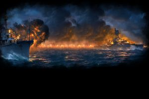 video game art war video games vehicle world of warships  fire
