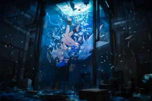 video game characters anime girls miv4t anime underwater
