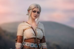 video game girls fantasy girl model looking at viewer portrait cleavage cirilla fiona elen riannon the witcher corset shirt women outdoors depth of field white hair outdoors cosplay