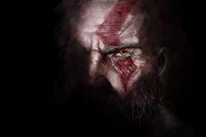 video games god of war kratos digital video game art dark