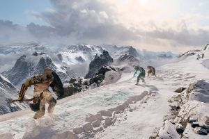 video games kratos console draugr mountains screen shot fantasy architecture clouds digital art weapon people playstation 4 god of war (2018) god of war snow