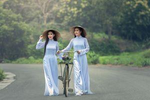 vietnamese chinese clothing bicycle women asian
