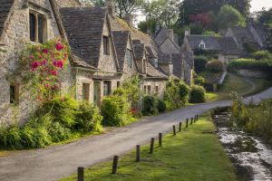 village plants flowers old building water road grass england costwolds house architecture stream trees