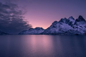 violet sunset calm pink sea water mountains purple sky horizon