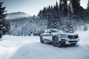 volvo v90 cc car nature winter volvo pine trees snow