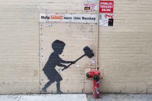wall sign graffiti concrete urban banksy