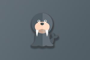 walrus digital animals simple background