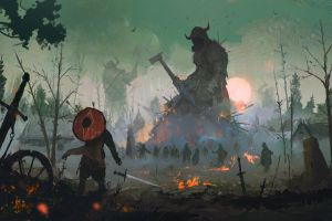 war digital giant scandinavia shield vikings fire sword