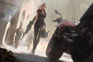 warrior artwork vehicle motorcycle blonde women digital art fantasy girl weapon