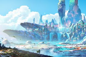 warrior clouds fantasy art castle digital landscape