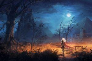 warrior fantasy art castle digital art landscape sword night