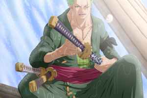 warrior green hair anime boys anime sword one piece roronoa zoro katana