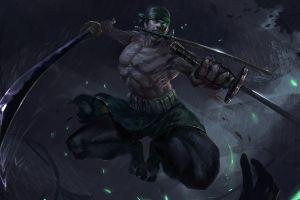 warrior one piece roronoa zoro sword anime men muscles
