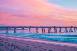 water beach california pink sky sea pier