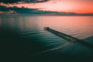 water beach nature sunset pier