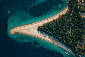 water sea holiday trees coast boat croatia nature landscape forest island beach bird's eye view aerial view