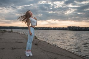 water windy sky long hair victoria victoria (model) women women outdoors dmitry sn dmitry shulgin viktoria babkina blonde jeans