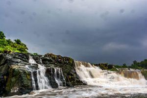 waterfall nature water sky