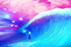waves ryky cyan birds painting digital art pink