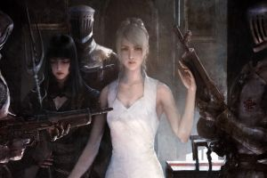 weapon warrior blonde digital art white dress women final fantasy xv fantasy art artwork soldier