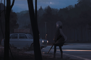 weapon white skin anime anime girls road car forest long hair night dark background