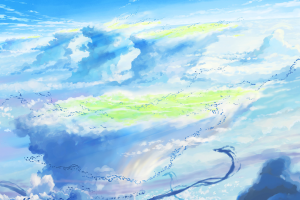 weathering with you blue sky clouds makoto shinkai  anime