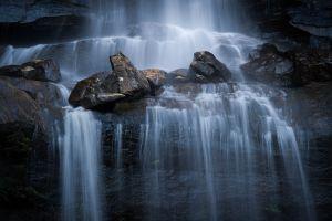 wet rock waterfall